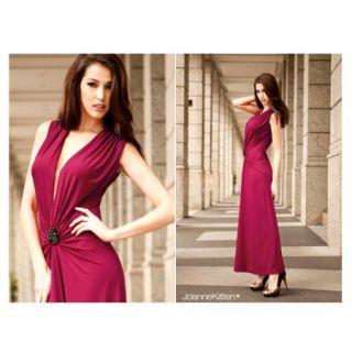 Sexy Ladies Deep V Purplish Red Carpet Full Length Party Dress B118690
