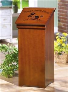 COUNTRY DECOR WOODEN TRASH BIN NEW