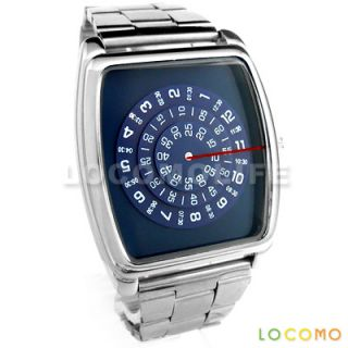 Men Rotate Disc Turning Dial Stainless Steel Watch Blue
