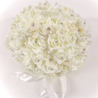 Artificial Foam ROSE BUD and DIAMANTE and PEARL Bridal Bouquet IVORY
