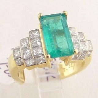 90 Ct Emerald Diamond Ladies Ring 18K Gold