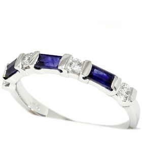 Ladies 71ct Blue Sapphire Diamond Ring 14k White Gold Wedding