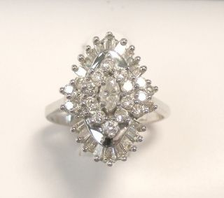 Vintage 14k White Gold Diamond Cluster Cocktail Ring