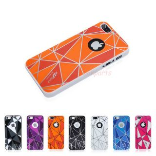Orange Diamond Design Back Cover Case Touch Pen for Apple iPhone 5 Top