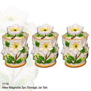 3 Piece Magnolia Canister Set