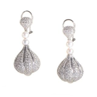 Majestic 18K White Gold Diamond Pearl Drop Earrings