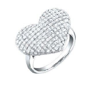 Wonderful Estate 14k White Gold Pave Diamond Heart Ring