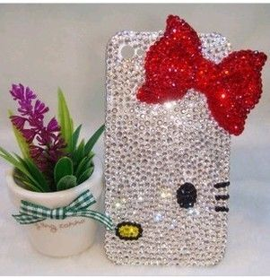 Luxury Crystal Bling Hello Kitty Diamond Case for i phone 4 4s free
