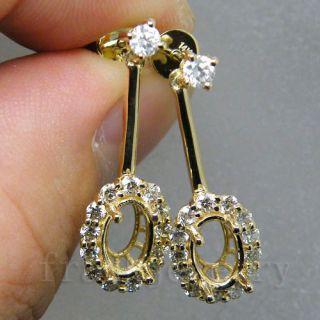 Solid 14Kt Yellow Gold Diamond Mount Setting Wedding Earrings F100