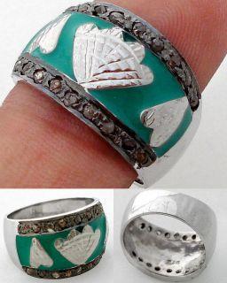 NATURAL ESTATE DIAMOND GREEN ENAMEL STERLING SILVER EXOTIC RING 1374