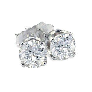 5ct Diamond Stud Earrings 10K White Gold SI 1 I