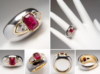 Bvlgari Ruby Diamond Wide Band Cocktail Ring Solid 18K White Yellow
