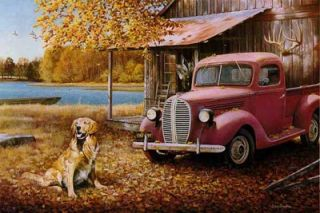 free larry chandler a golden autumn dog old car print
