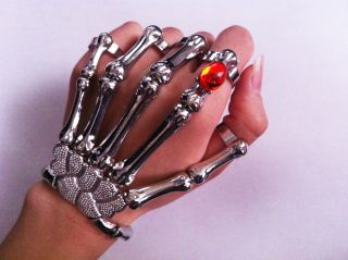 Skeleton Hand Ring Bracelet Delfina Delettrez LADY GAGA STYLE NEW