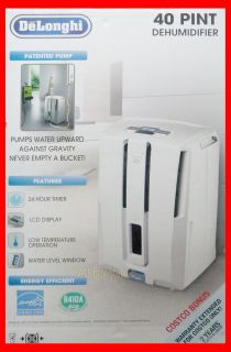 DeLonghi DD40P 40 Pint Energy Star Dehumidifier with Patented Pump