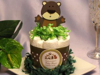 WOODLAND FOREST ANIMALS baby shower diaper cake centerpieces