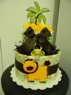 jungle LION 2 tier neutral diaper cake, baby shower centerpiece/gift