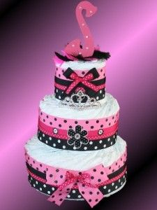 Pink Black Themed Diaper Cake Baby Shower Center Piece Elegant and