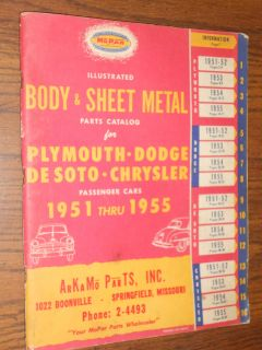 CHRYSLER / PLYMOUTH / DODGE / DE SOTO / BODY PARTS CATALOG / 52 53 54
