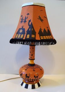 Handpainted Halloween Lamp OOAK Demy HP Witches Black Cats Glass Wood