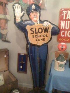 1950s Coca Cola Original Policeman School Crossing Guard Sign