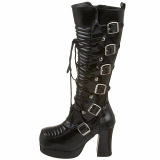 Demonia Black PU 3 75 Goth Steampunk Laceup Knee Boot Gothika 200 B