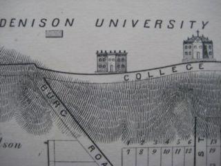 1875 Railroad Map Granville Ohio Denison University