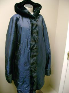 Dennis Basso Reversible Metallic Faux Fur Hood Coat Blu