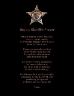 Deputy Sheriffs Officer Prayer Poem Wall or Room Print No County Named