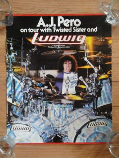 RARE Twisted Sister AJ Pero LUDWIG drum poster 1986 signed autographed