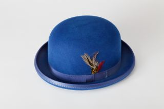 New Mens Royal Blue Bowler Derby Wool Hat All Sizes