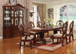 Carved Formal Dining Room Set Table China Cabinet New