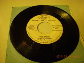 RARE 1954 Promotional Mercury Dinah Washington Prod by Quincy Jones 45