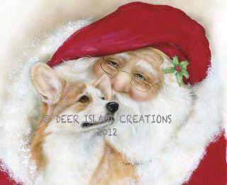 Pembroke Welsh Corgi Santa Art Note Cards Artist Darcie Olson Darci