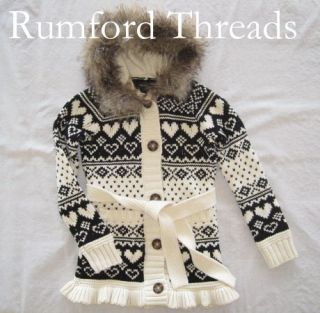 Faux Fur Hooded Sweater Coat 6 7 8 10 Fair Isle Deer Valley