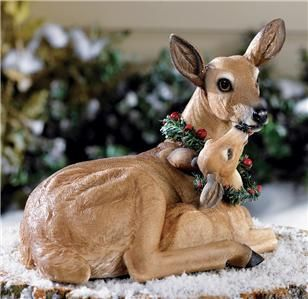 CHRISTMAS DEER and FAWN YARD DECOR WITH HOLLY WREATHS NEW