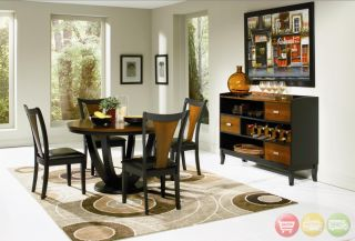 Modern Dining Room Set Round Table Chairs Server 2 Tone