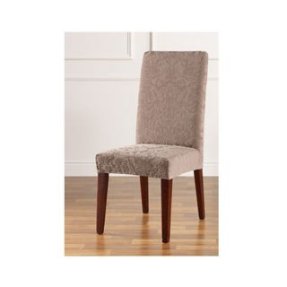 Stretch Jacquard Damask Short Dining Room Chair Cover Mushroom