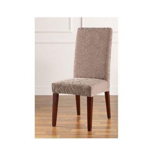 Stretch Jacquard Damask Short Dining Room Chair Cover Mushroom