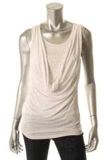 Design History New White Sequined Inset Tank Drape Front Tank Top