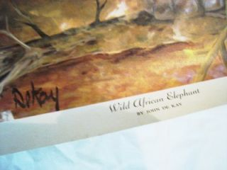 Vtg Wild African Elephant Dekay Litho Print 24x24 Kaplan Wall Decor