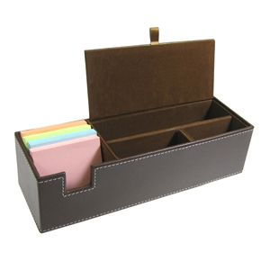 Brown Simulated Leather Desk Organizer Box Desktop New