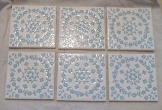 Vintage DISCONTINUED 1970s H R Johnson tiles ceramic BLUE BLOSSOM
