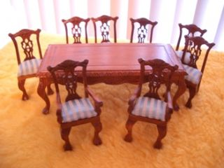 Discontinued Dollhouse Miniature Dining Table Chair 68g