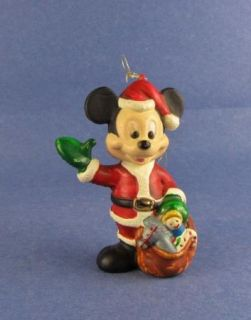 Ornament Disney Mickey Mouse as Santa with Bag of Gifts Vintage