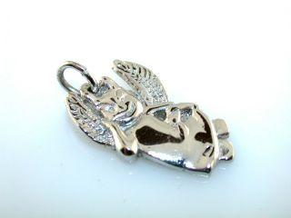 Vintage Angel Devil Sterling Silver Charm Pendant