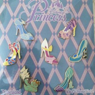 Disney Trading Pins Princess Shoe Booster Pack of 7 Lot of Disney Pins
