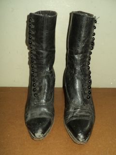 Vtg Antique Womens Victorian Black Leather Shoes Boots