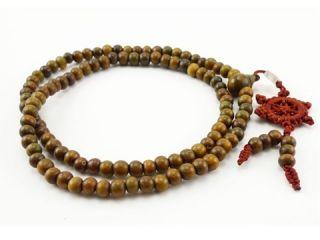8mm Green Sandalwood Prayer Bead Dharma Wheel Mala Necklace 32