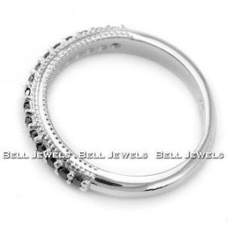 Fine Black Diamond Wedding Band Ring 14k White Gold Vintage Antique